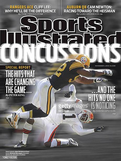 November 1 2010 Sports Illustrated Cover Football Pittsburgh Steelers James Harrison in action making openfield hit vs Cleveland Browns Mohamed...