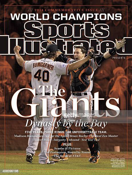 November 1 2014 Sports Illustrated Presents Cover World Series Rear view of San Francisco Giants Madison Bumgarner victorious with Buster Posey after...