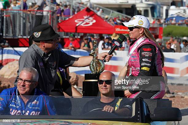 Erica EndersStevens celebrates winning the world championship during the 15th Annual NHRA Toyota Nationals at The Strip at Las Vegas Motor Speedway...