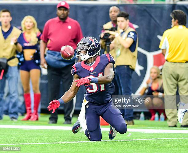 Houston Texans Cornerback Charles James downs a punt at the four yard line during the Titans at Texans game at NRG Stadium Houston Texas