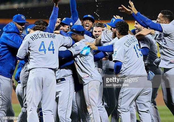 The Kansas City Royals celebrate their 72 victory over the New York Mets in the 5th and deciding game of the 2015 World Series at Citi Field in...