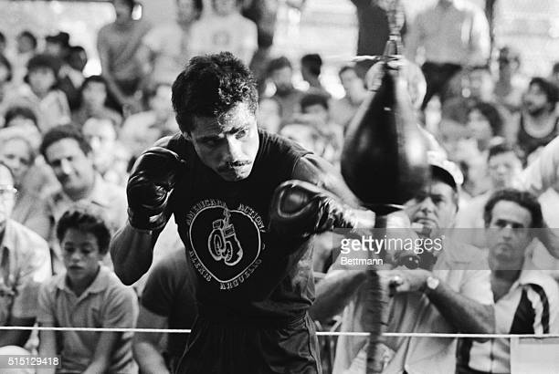 November 10 1982Miami Florida Alexis Arguello works out on the speed bag before a crowd of some three hundred spectators at the Tropical Park gym...