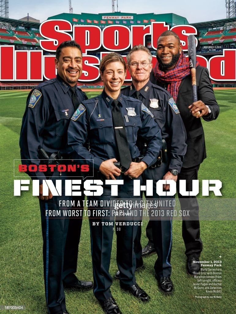 November 11, 2013 Sports Illustrated Cover: Portrait of Boston Red Sox David Ortiz casual during photo shoot with Boston Police Department's (L-R) officer Javier Pagan, officer Rachel McGuire, and detective Kevin McGill during photo shoot at Fenway Park. The three BPD officers were first responders to the Boston Marathon bombings and were featured on that week's SI cover. Joe McNally F8 )