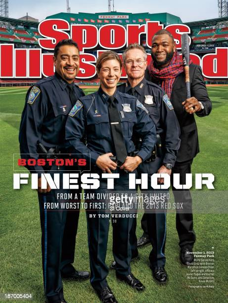 November 11 2013 Sports Illustrated Cover Portrait of Boston Red Sox David Ortiz casual during photo shoot with Boston Police Department's officer...
