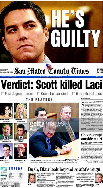 November 12 2004 front page of the PM edition San Mateo County Times from San Mateo California reporting that Scott Peterson was found guilty in the...