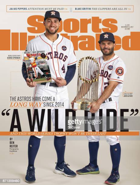 November 13 2017 Sports Illustrated Cover Portrait of Houston Astros George Springer and Jose Altuve posing during photo shoot at Minute Maid Park...