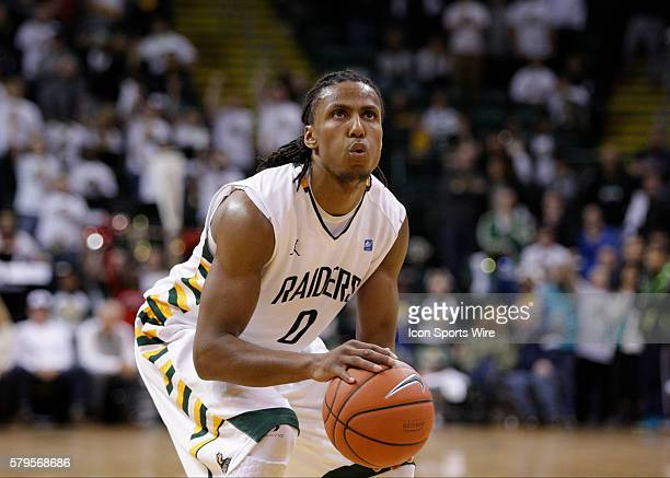 Wright State Raiders forward Steven Davis shoots a foul shot at the end of the NCAA Basketball game between the Wright State Raiders and the Belmont...