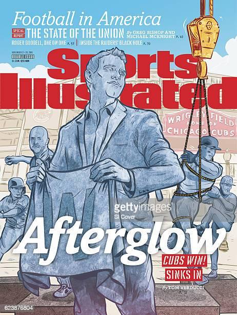 November 14 2016 November 21 2016 Sports Illustrated via Getty Images Cover Illustration of statues being erected of Chicago Cubs Javier Baez David...