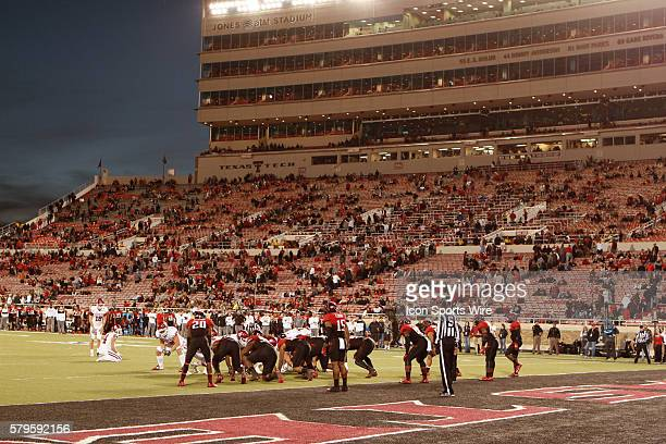 Kicker Michael Hunnicutt sets up for the PAT while Tech fans line the exits toward the end of the 4th quarter in the Oklahoma Sooners 4230 victory...