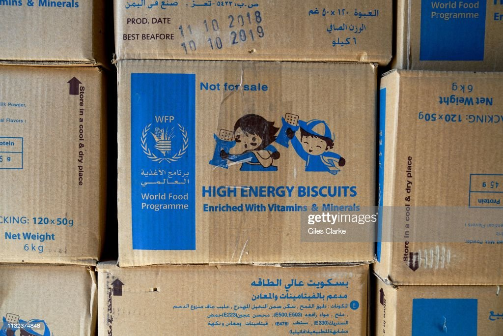 Boxes of high energy biscuits from WFP on November 15,2018 in
