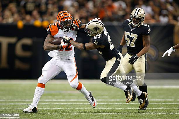 Cincinnati Bengals running back Jeremy Hill is tackled by New Orleans Saints cornerback Corey White at the MercedesBenz Superdome in New Orleans LA