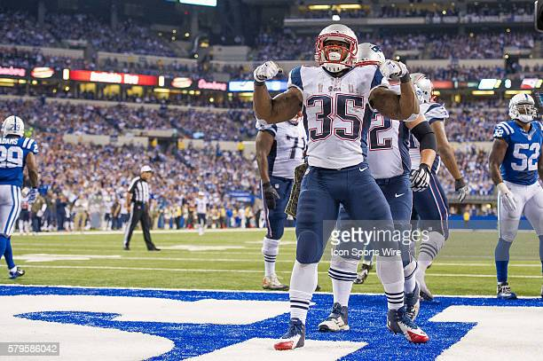 New England Patriots running back Jonas Gray celebrates a touchdown during a football game between the Indianapolis Colts and New England Patriots at...