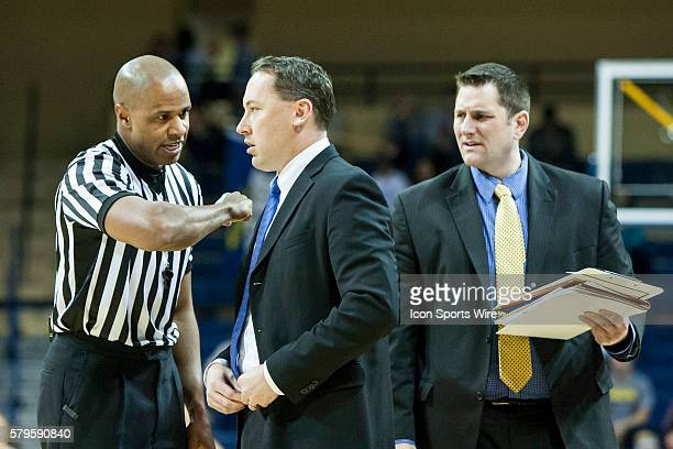 Northern Arizona Lumberjacks head coach Jack Murphy argues a call with NCAA basketball official Steve McJunkins during a nonconference regular season...