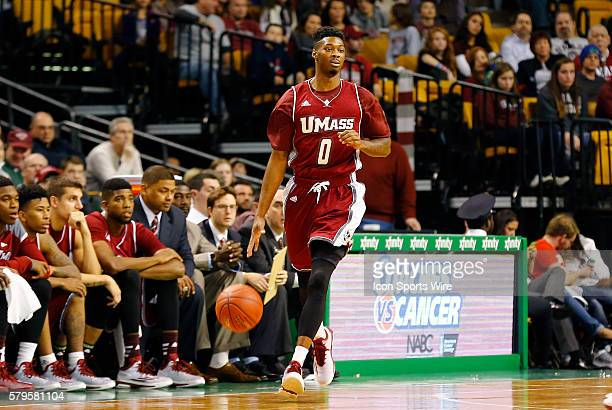 Univerity of Massachusetts' Donte Clark The Boston College Eagles and the University of Massachusetts at TD Garden in Boston Massachusetts