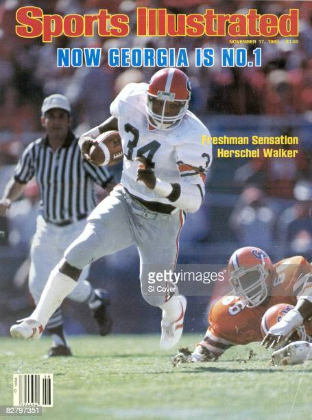 November 17 1980 Sports Illustrated via Getty Images Cover College Football Georgia Herschel Walker in action rushing vs Florida Jacksonville FL...