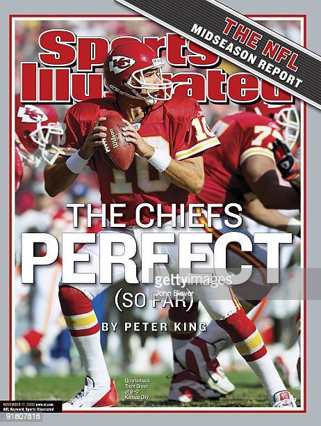 November 17, 2003 Sports Illustrated via Getty Images Cover: Football: Kansas City Chiefs QB Trent Green in action vs Cleveland Browns. The Chiefs...