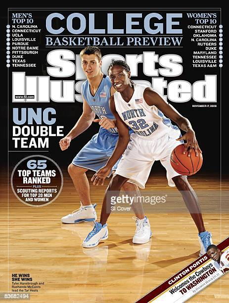 November 17 2008 Sports Illustrated Cover College Basketball Season Preview Portrait of North Carolina Tyler Hansbrough and Rashanda McCants at Dean...