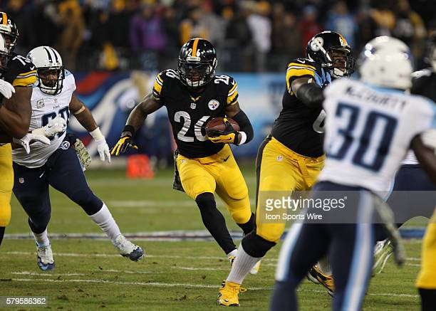 Le'Veon Bell Pittsburgh Steelers running back running the ball during the game between the Pittsburg Steelers and Tennessee Titans at LP Field in...
