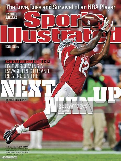 November 17 2014 Sports Illustrated Cover Arizona Cardinals John Brown in action making touchdown catch vs St Louis Rams during 4th quarter at...