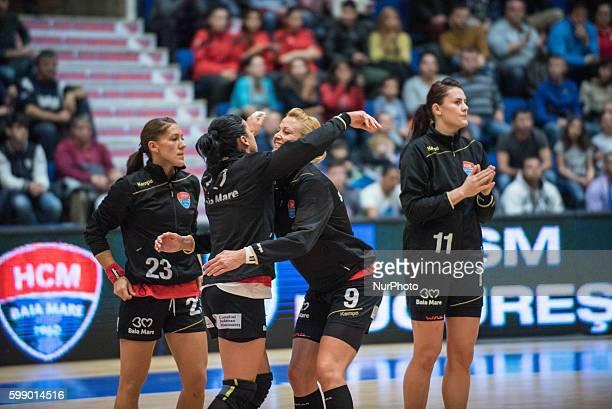 Gabriella Szucs of HCM Baia Mare and Gabriela Perianu of HCM Baia Mare in action during the Romania Woman's Handball National League game between CSM...
