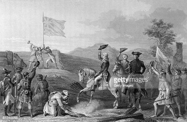November 1758 Engraving of George Washington in command of British forces raising the flag after retaking Fort Du Quesne from the French during the...