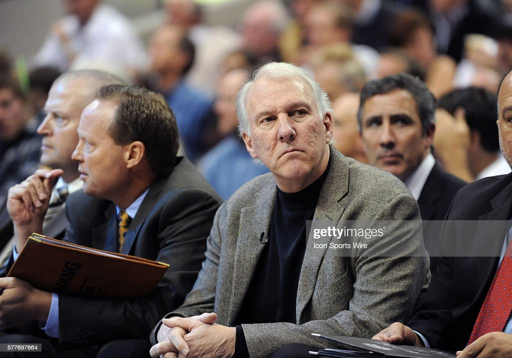 San Antonio coach Gregg Popovich during an NBA game between the San Antonio Spurs and the Dallas Mavericks at the American Airlines Center in Dallas, TX Dallas defeated San Antonio 99-94 in OT