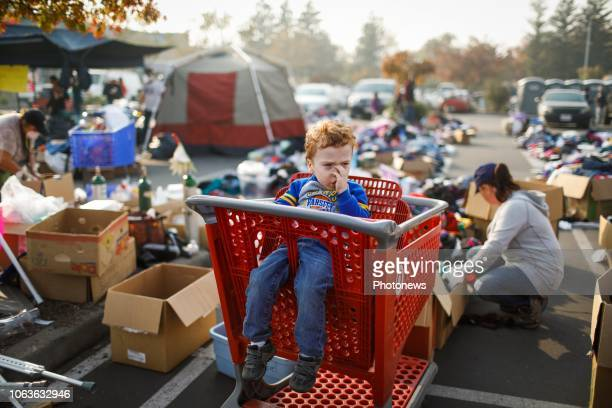 November 18 2018 Chico California United States Evacuee Josaiah Darby waits in a shopping cart as his mother Autumn Darby looks through items at the...