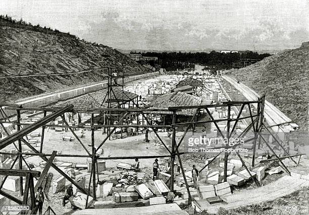 Sport Illustration The Olympic Games pic November 1895 Work in progress on the Panathinaikon Stadium Athens Greecethe main venue for the 1896 Olympic...