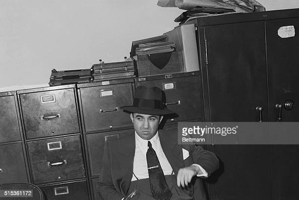 November 19 1950 Los Angeles California Mobster Mickey Cohen looks a bit bored as he waits to explain his plush income to the Senate crime committee...