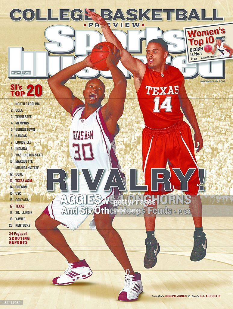 Texas A&M Joseph Jones and University of Texas D.J. Augustin, 2007 College Basketball Preview : Nyhetsfoto