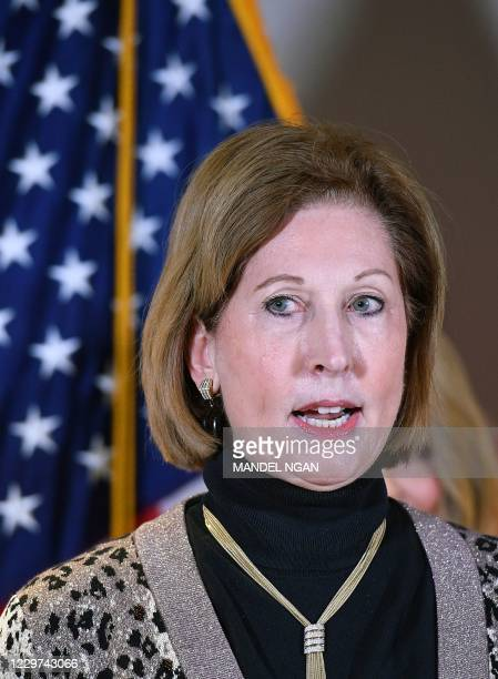 November 19, 2020 photo shows Sidney Powell speaking during a press conference at the Republican National Committee headquarters in Washington, DC. -...