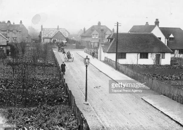 A view down a quiet street in Letchworth Garden City Hertfordshire