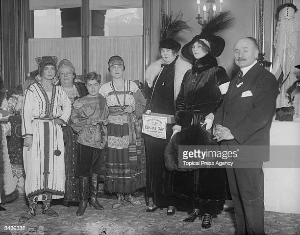 From left to right Lola Tokoreff Mademoiselle Pierre Berton Jack Dan Benton Mademoiselle Debysia Viscountess Curzon and Lady Mannering help man the...