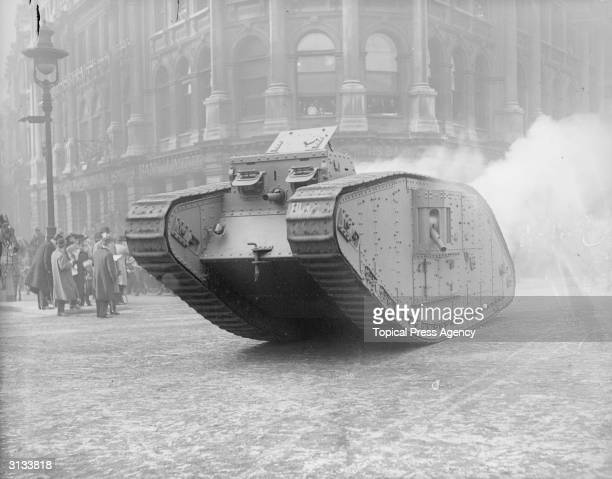 Mark IV tank, part of the parade at the Lord Mayor's Show in London.