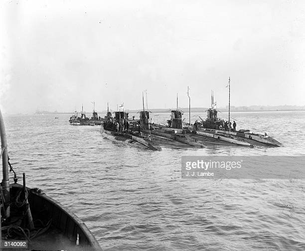 Captured German submarines flying the white ensign the flag of the Royal Navy