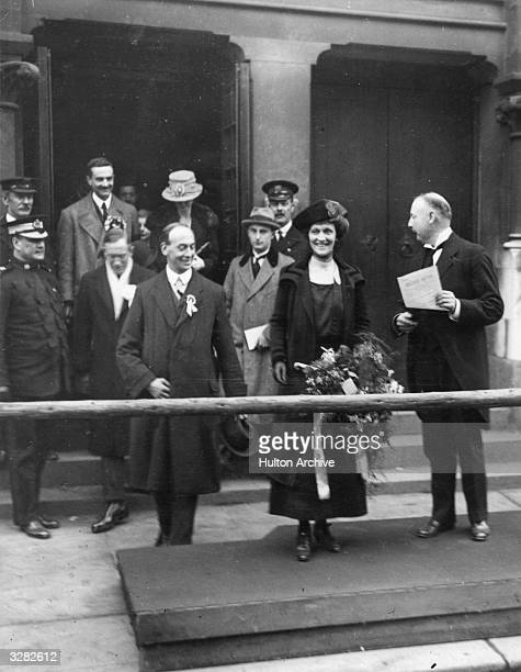 American-born British politician Nancy Witcher Langhorne, Viscountess Astor after the declaration of the poll at Plymouth. She became the first woman...