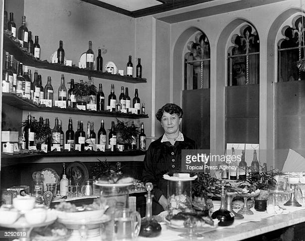 Mrs Tunton behind the bar at the House of Commons