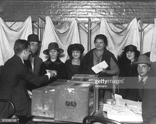 Women cast their first votes for President Women of the East Side casting their ballots at the polling place in PS 35 at 160 Chrystie Street