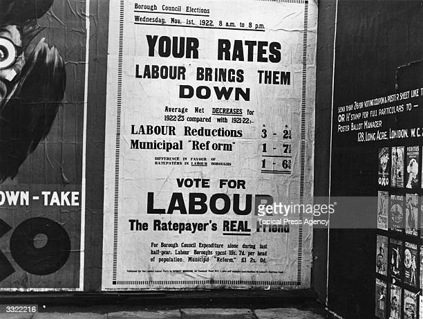 A Labour Party election poster showing voters the difference in rates payable in Labour boroughs
