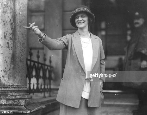 American born British socialite and politician Lady Nancy Astor in Plymouth during the election.