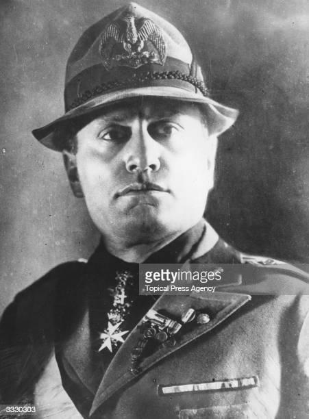 Italian dictator Benito Mussolini wearing a national malitia uniform