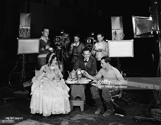American silent screen comedian and actor Buster Keaton on set with Dorothy Sebastian during the filming of his last silent comedy 'Spite Marriage'...
