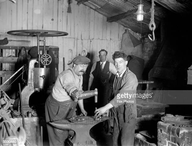 Patrick O'Neill a one armed blacksmith illustrating his useful false limb