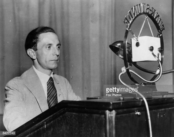 German Nazi politician and minister of propaganda Joseph Goebbels making a radio broadcast