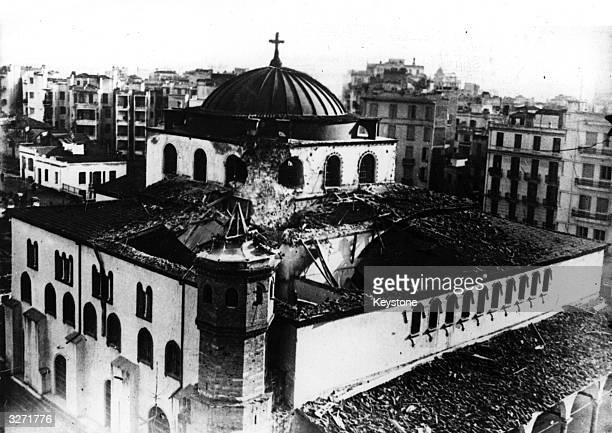 The beautiful 6th century church of St Sophia, in Salonika, noted for its fine mosaics, was bombed by Italian raiders during their invasion of Greece...