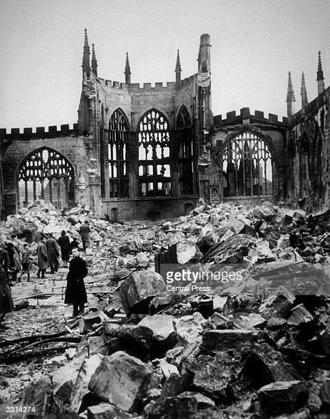 The ruins of Coventry Cathedral after it took a direct hit from German bombers