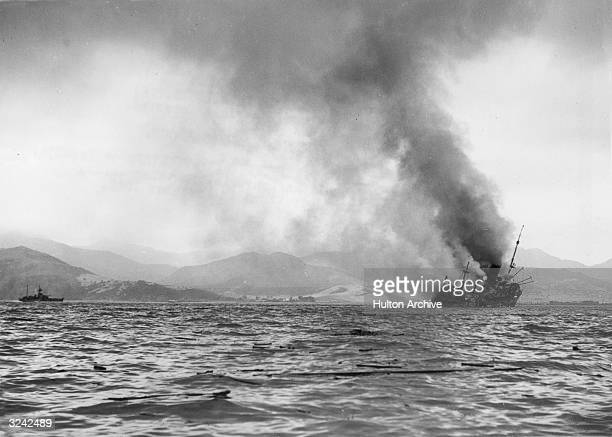 A British ship on fire in Bougie Harbour during the North African 'torch' landings The Luftwaffe bombed three of the Allied ships as they attempted...