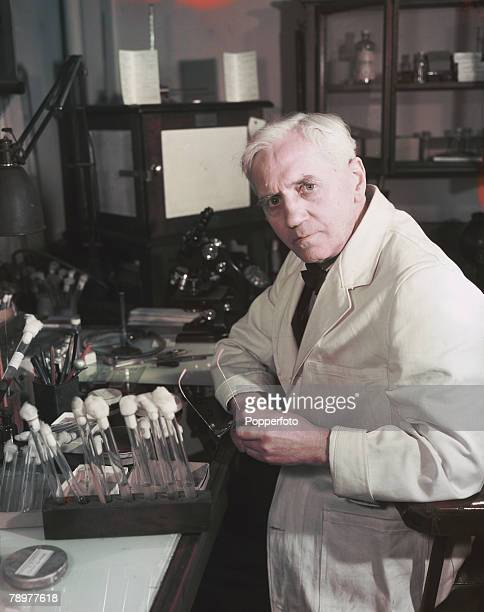 November 1943 A portrait of Scottish bacteriologist Professor Alexander Fleming discoverer of the drug penicillin