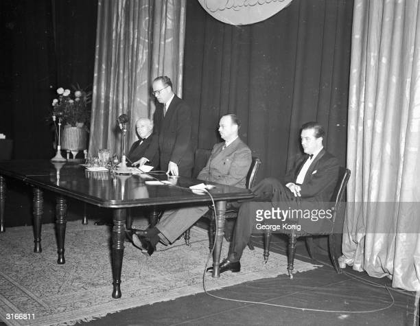 Hungarian film producer Adolph Zukor the founder of Paramount studios and actor Ray Milland at the Paramount 25 Year Club party