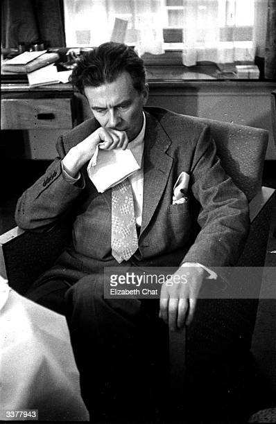 Aldous Leonard Huxley the novelist and essayist is being interviewed in London after a 12 year absence from England Original Publication Picture Post...